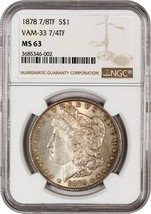 1878 7/8TF $1 NGC MS63 (VAM-33 7/4TF) - Morgan Silver Dollar - $242.50