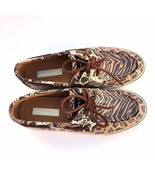 Sperry Top Sider Animal Print Boat Shoes Womans 6 M  Sequins Leather Lac... - $38.65