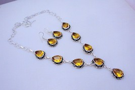 Citrine Silver Overlay Handmade Jewelry Necklace 51 Gr. F-340 - $17.82