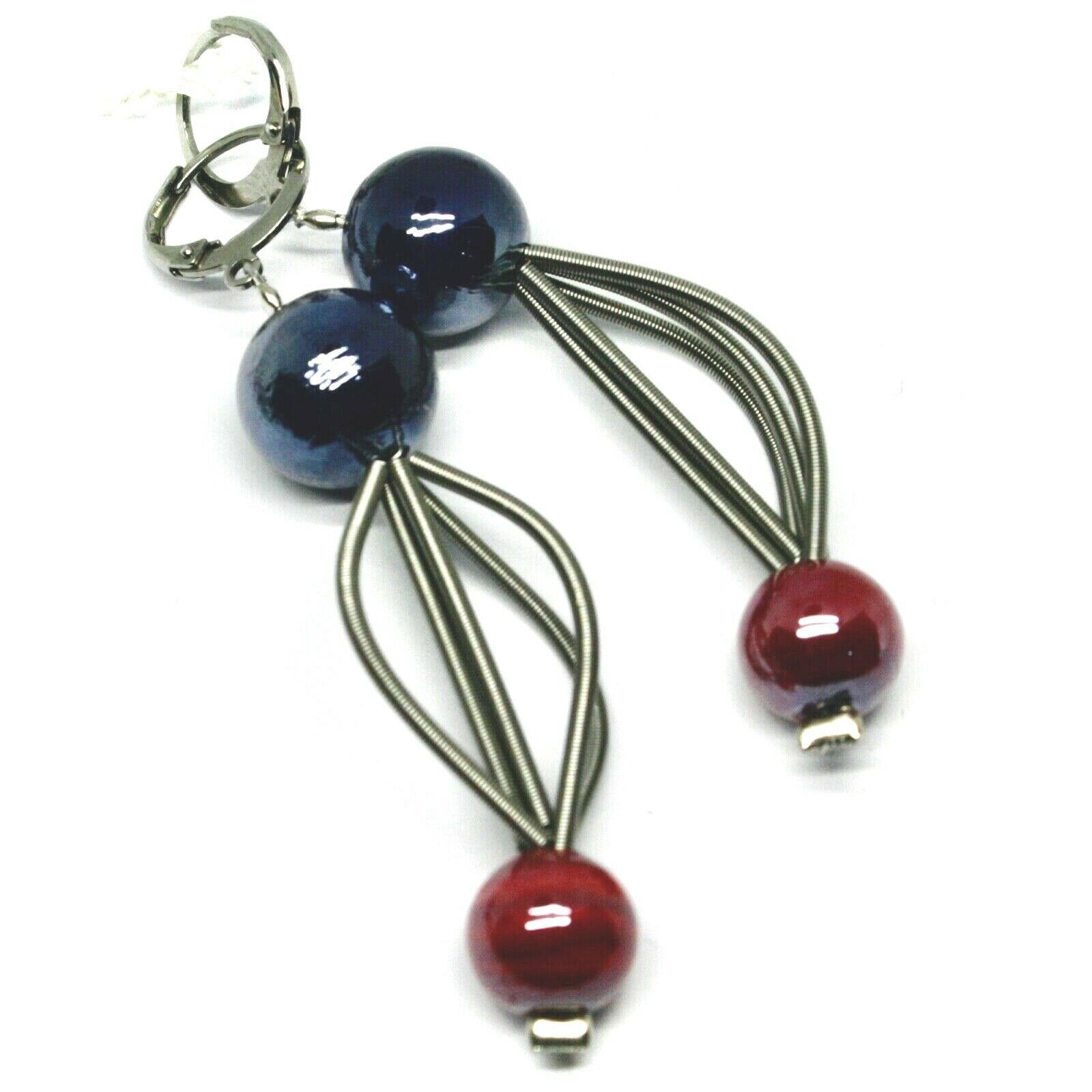 """PENDANT MULTI WIRES EARRINGS BLUE RED SPHERES MURANO GLASS 2.6"""" ITALY MADE"""