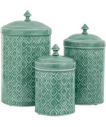SET OF 3 SAGE GREEN EMBOSSED METAL CANISTERS LARGE/MEDIUM/SMALL - $79.15