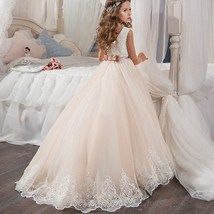 Champagne Tulle Flower Girls Dresses A Line Fashion Long Evening Dress Beaded  - $82.00