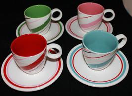 Starbucks Coffee Holiday 2007 4 Mini Coffee Tea Mug Cups and Saucers Set  3oz - $44.88
