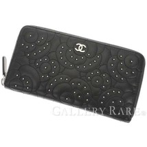 04768ff98142 CHANEL Camellia Motif Black Leather Studs Wallet A82281 Italy Authentic ...  - $1,000.80