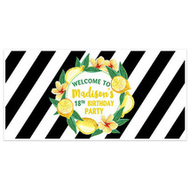Stripes and Lemons Birthday Party Personalized Banner - $22.28+