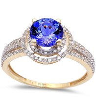 1.79ct Genuine Tanzanite & Diamond Twisted Prong Solitaire Engagement Ri... - $897.97