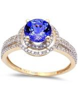 1.79ct Genuine Tanzanite & Diamond Twisted Prong Solitaire Engagement Ri... - $763.27