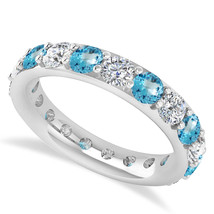 2.85 Ct Round Real Diamond & Blue Topaz 14K Gold Full Eternity Wedding B... - €778,15 EUR