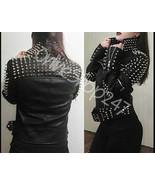 New Woman Black Full Silver Spiked Studded Punk Rock Biker Leather Jacke... - $329.99