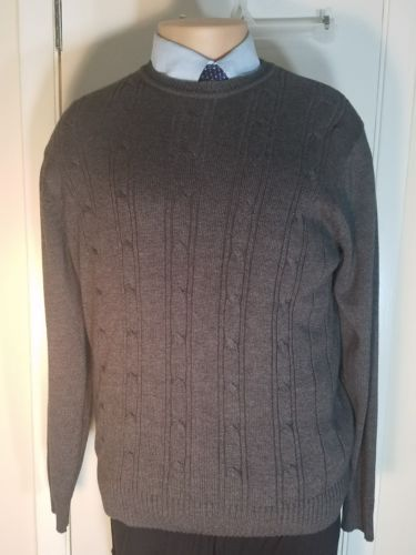 OSCAR DE LA RENTA RIBBED SWEATER CHARCOAL GRAY COTTON BLEND EUC