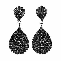 Les Bohémiens Clip-On and Pierced Rhinestone Crystals Gold (Black Clip-On) - $29.36