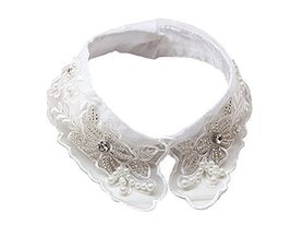 Retro Elegant Lace Beads Detachable False Collar Stand Collar-Flower Beads