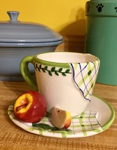Bella Casa 3D Apple Cup & Saucer by Ganz NEW WI... - $21.49