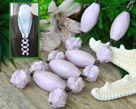 Vintage Lavender Lilac Pastel Ladder Necklace Molded Plastic Beads - $27.95