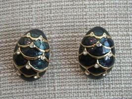 Joan Rivers Green Enamel & Rhinestone Gold-Tone Earrings -see full desc ... - $5.94