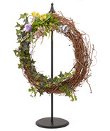 """WREATH HOOK STAND 30"""" Free Standing Wrought Iron Holder Classic Final Am... - $48.99"""