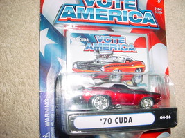 Muscle Machines '70 Cuda 04-36 Red Vote America Series Mip Free Usa Shipping - $9.49