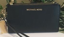 MICHAEL KORS JET SET TRAVEL DOUBLE ZIP WALLET PHONE CASE WRISTLET BLACK ... - $76.22