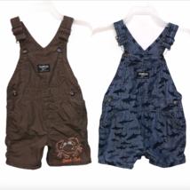 OshKosh B'gosh Vestbak Short Overalls Infant Boys 12 Months Lot of 2 Shark Crab - $19.99