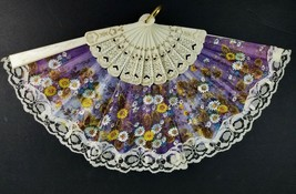 Vintage Folding Hand Fan Purple Floral with Lace Asian style Signed Tarrega - $9.85