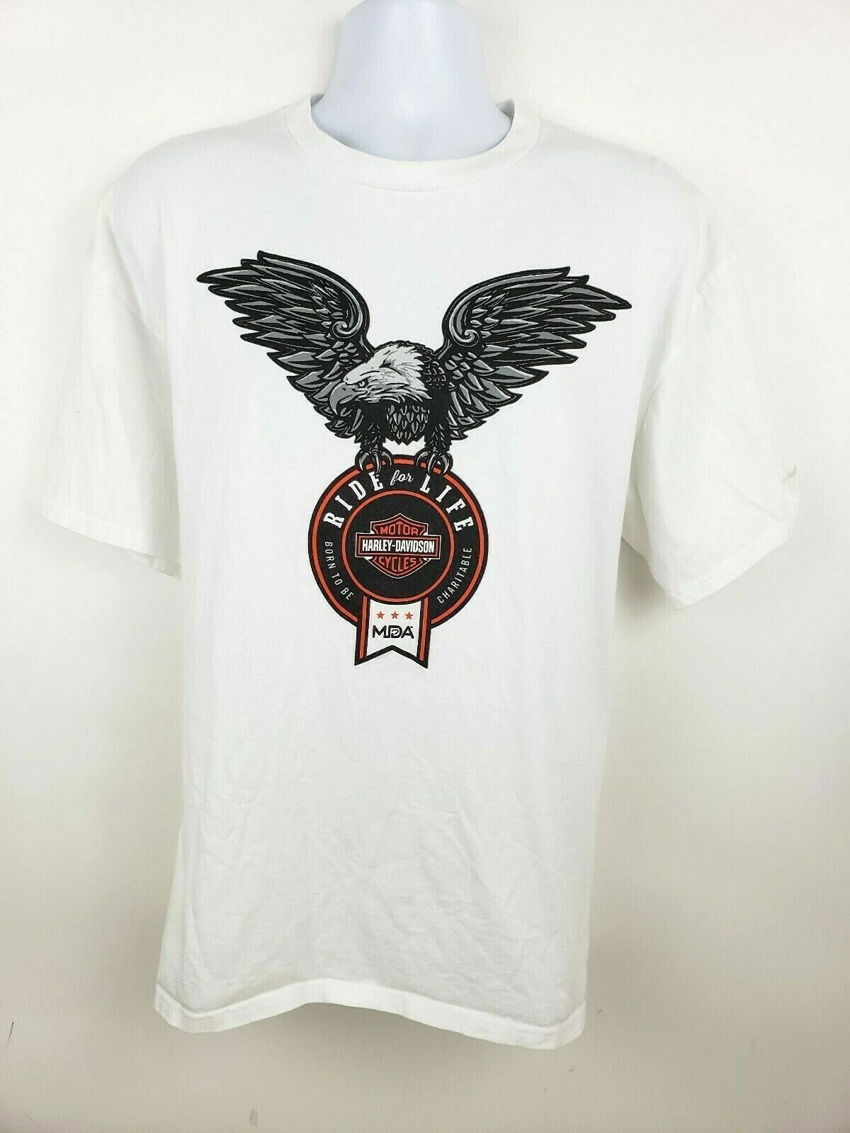 Harley Davidson Ride For Life Charity T-shirt White Size XL Eagle