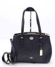 NWT Coach Turnlock Navy Blue Leather Carryall 29 Shoulder Crossbody Bag ... - $195.00