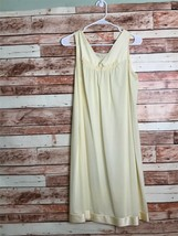 Vintage Pale Light Yellow Sleeveless Pajama Chemise Gown V-Neck Midi - $23.33