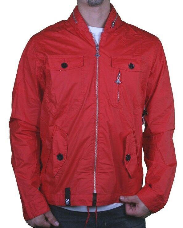 LRG Mens Red Lightweight 100% Cotton Foressence Zip Up Jacket Windbreaker Coat