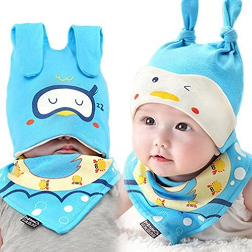 Baby Multifunctional Toddler Soft Infant Cotton Hat 0-18Months(Blue)