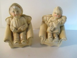 Vintage Coventry Ware Girl with Baby Man with Pipe in Chairs - $11.87