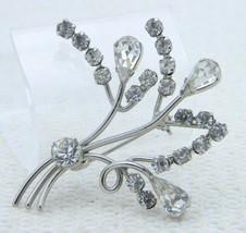 VTG AUSTRIA Signed Silver Tone Clear Rhinestone Flower Pin Brooch - $39.60