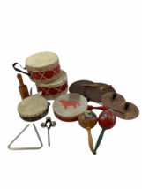 Vtg 14pc Instrument Lot Drum Triangle Cymbal Maracas Percussion Tambourine image 1