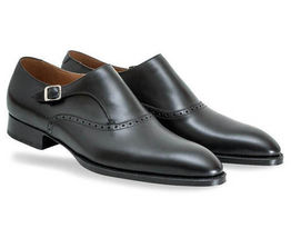 Superior Leather Men Black Color Casual Dress Buckle Strap Handmade Monk Shoes - $139.90+