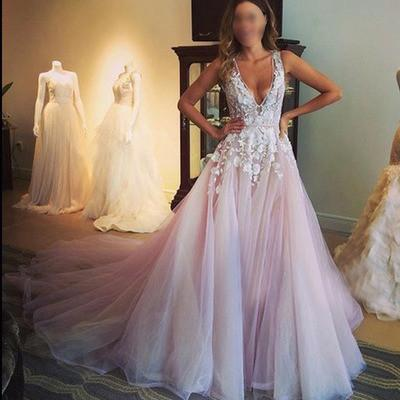 Pink Prom Dress, A-line Prom Dress, Lace Prom Dress, Long Prom Dresses