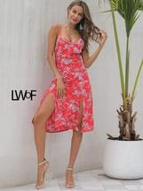 Floral Print Split Cami Dress - $45.99