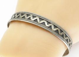 925 Sterling Silver - Vintage Oxidized Twist Pattern Cuff Bracelet - B5809 - $41.71