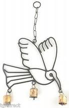 Black Iron Hummingbird Wind Chime Copper Colored Bells Yard Garden Outdo... - $14.99