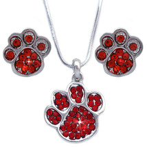 Red - Doggy Dog Bear Paw Pendant Necklace Stud Earrings Set Crystal - $21.98