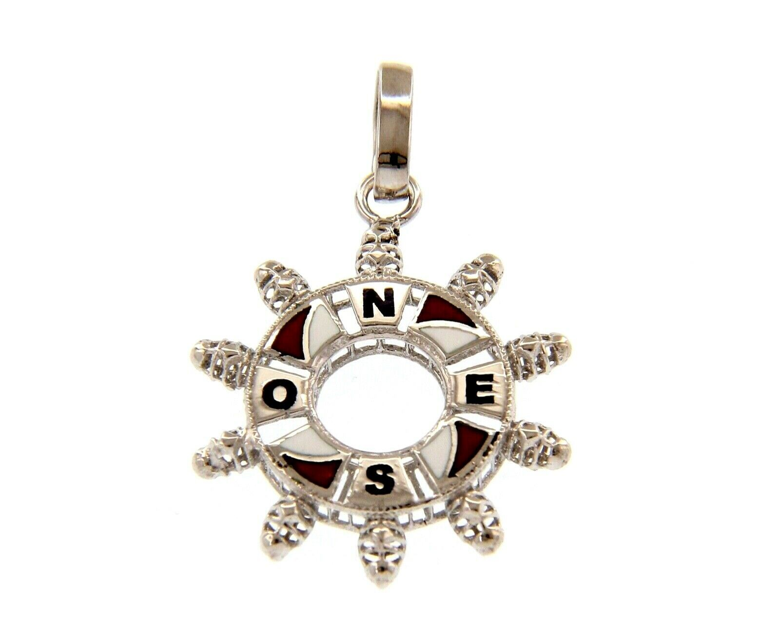 "18K WHITE GOLD NAUTICAL HELM PENDANT 2.2cm 0.87"" ENAMEL COMPASS WIND ROSE"