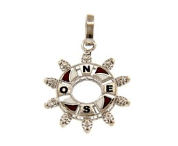 "18K WHITE GOLD NAUTICAL HELM PENDANT 2.2cm 0.87"" ENAMEL COMPASS WIND ROSE image 1"