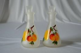 Hazel Atlas Satin Peach Oil & Vinegar Cruet Set 2 sided pour - $9.90