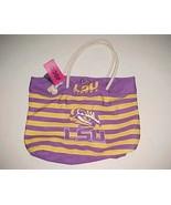 LSU Tigers Logo NCAA SEC Purple Yellow Rope Handle Nautical Stripe Tote ... - $34.64