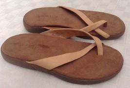 Aerosoles Women's Flip Flops 'Floaty' Beige Leather Toe Strap Slides San... - $24.74