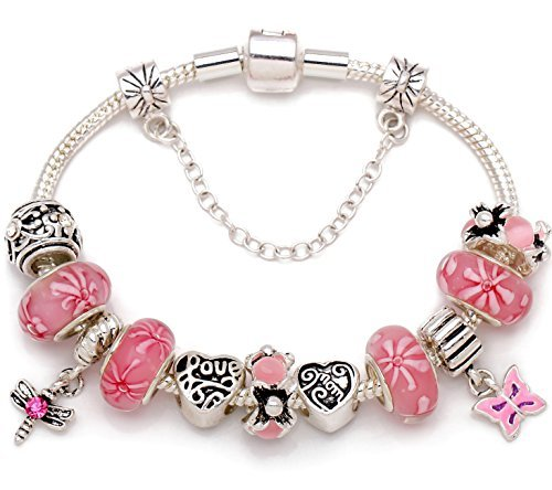 """""""A Garden Of Love Grows In A Mother's Heart"""" Pink Flower Bead Charm Silver-tone"""