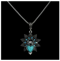 Turquoise Star Heart Pendant Necklace  With Chain, Antique Silver Vintag... - $3.99