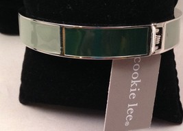 New Cookie Lee Shades of Green Cuff Bracelet on Silvertone - $14.65