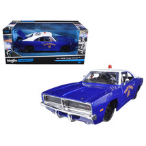 1969 Dodge Charger R/T State Police Car Blue 1/25 Diecast Model Car by M... - $31.17