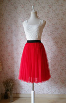 Red Elastic Waist 3 Layer Tulle Tea Length Midi Skirt, Plus Size Tulle S... - $46.99