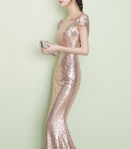 CHAMPAGNE GOLD Short Sleeve Long Sequin Dress Bridesmaid Long Maxi Sequin Dress image 6