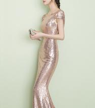 CHAMPAGNE GOLD Short Sleeve Long Sequin Dress Bridesmaid Long Maxi Sequin Dress image 6